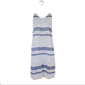 Old Navy Blue and White Linen Shirt Dress Tall